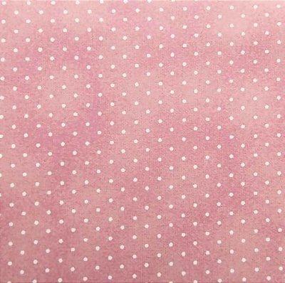 Tecido Tricoline Poeirinha e Poá Branco - Fundo Rosa Claro - Preço de 50 cm X 146 cm