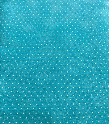 Tecido Tricoline Poeirinha e Poá Branco - Fundo Azul Claro - Preço de 50 cm X 146 cm