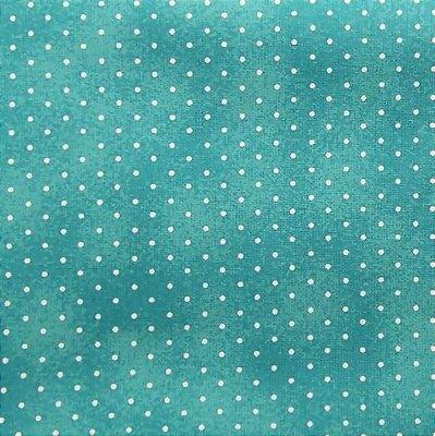 Tecido Tricoline Poeirinha e Poá Branco - Fundo Tiffany - Preço de 50 cm X 146 cm
