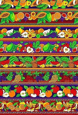 Tecido Tricoline Estampa de Barrados de Frutas: Mamão, Maçã, Laranja, Banana, Uva, Abacaxi e Melancia  - Preço de 50 cm X 146 cm