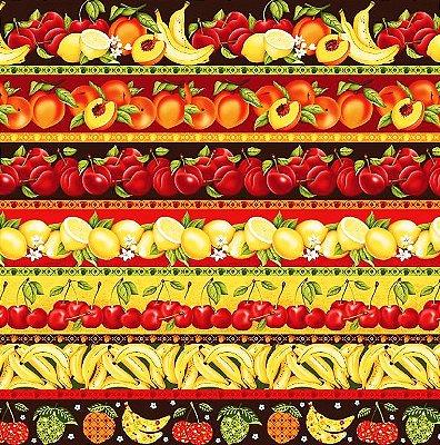 Tecido Tricoline Estampa de Barrados de Frutas: Pêssego, Cereja, Limão Siciliano e Banana - Preço de 50 cm X 146 cm