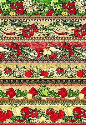 Tecido Tricoline Estampa de Barrados de Verduras e Legumes  - Preço de 50 cm X 146 cm