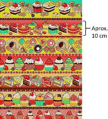 Tecido Tricoline Estampa de Barrados de Bolo e Cupcake - Preço de 50 cm X 146 cm