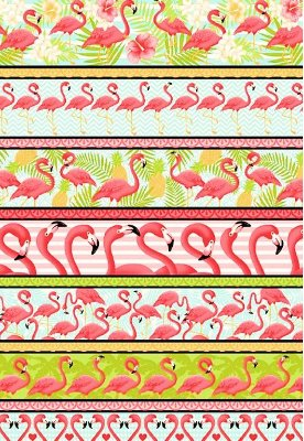 Tecido Tricoline Estampa de Barrados Flamingos - Preço de 50 cm X 146 cm