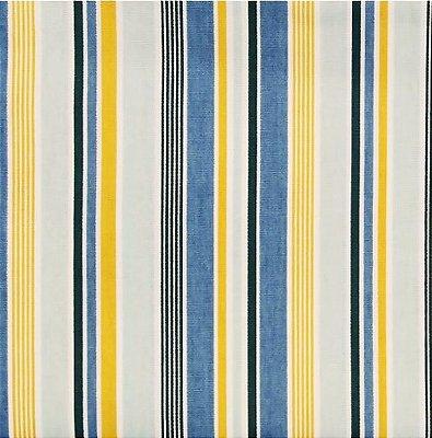 Tecido Tricoline Listrado - Azul e Amarelo - Corte Mínimo 50 cm X 146 cm