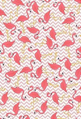 Tecido Tricoline Estampa de Flamingos - Fundo Rosa - Corte Mínimo 50 cm X 146 cm
