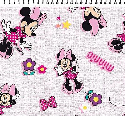 Tecido Tricoline Minnie Mouse com Textura - Disney - Fundo Rosa - Preço de 50 cm x 150 cm