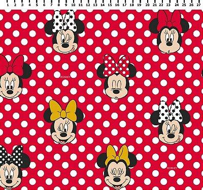 Tecido Tricoline Minnie Mouse com Poá - Coleção Disney - Fundo Vermelho - Preço de 50 cm x 150 cm