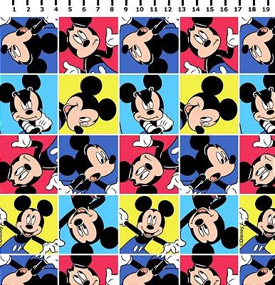 Tecido Tricoline Mickey Mouse Multicolor em Quadrinhos - Disney - Preço de 48 cm x 150 cm
