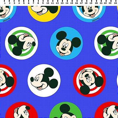 Tecido Tricoline Mickey Mouse em Círculos - Disney - Fundo Azul - Preço de 50 cm x 150 cm