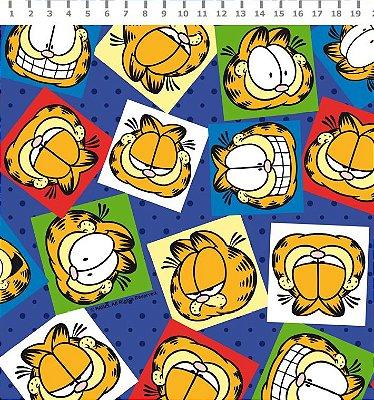 Tecido Estampado Garfield Faces com Poá (Fundo Azul) - Preço de 50cm x 150cm
