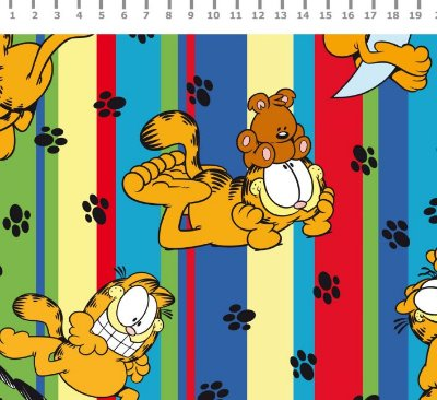 Tecido Estampado Garfield em Listras (Fundo Colorido) - Preço de 50cm x 150cm