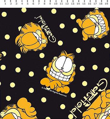 Tecido Estampado Garfield com Poá Amarelo (Fundo Preto) - Preço de 50cm x 150cm