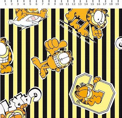 Tecido Estampado Garfield com Listra Preta e Amarela - Preço de 50cm x 150cm