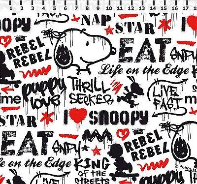 Tecido Tricoline Infantil Snoopy Grafite (Fundo Branco) - Preço de 50 cm x 150 cm