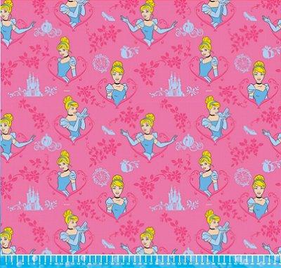 Tecido Tricoline Princesa Cinderela - Disney - Fundo Rosa - Preço de 50 cm x  150 9662625f9a0