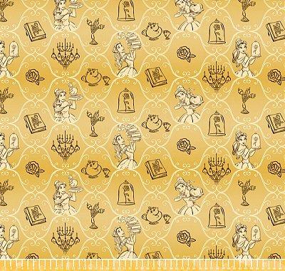 Tecido Tricoline Princesa Bela - Disney - Fundo Amarelo Queimado  - Preço de 50 cm x 150 cm
