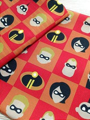 Tecido Estampa Exclusiva de Personagens - Os Incríveis - 100% poliéster - Preço de 80cm x 60cm
