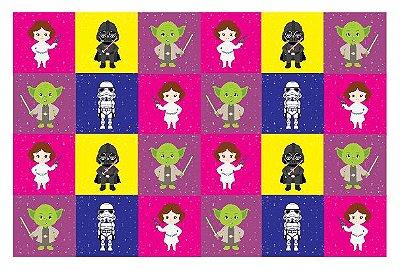 Tecido Estampa Exclusiva de Personagens - Star Wars Coloridos - 100% poliéster - Preço de 80cm x 60cm