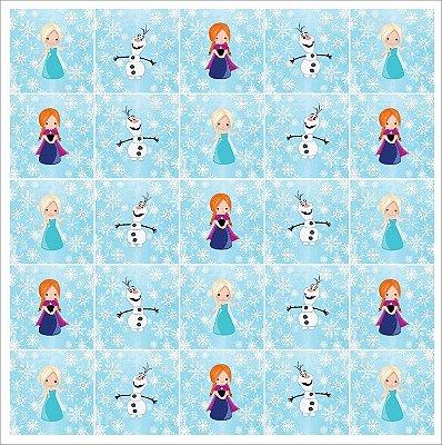 Tecido Estampa Exclusiva de Personagens - Frozen, Elsa, Ana e Olof - 100% poliéster - Preço de 80cm x 60cm
