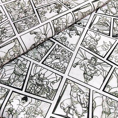 Tecido Estampa Exclusiva de Personagens - Quadrinhos Preto e Branco - 100% poliéster - Preço de 80cm x 60cm