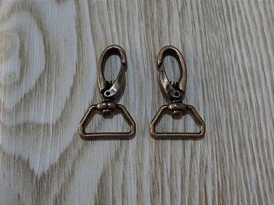 Mosquetão em Metal - Ouro Velho - 2 cm - Preço de 2 unidades