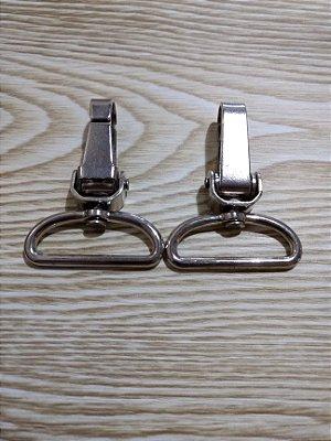 Mosquetão em Metal - Prata - 4 cm - Preço de 2 unidades