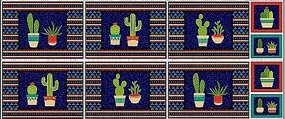 Tecido Tricoline Jogo Americano e Pegador de Panela - Coleção Cactus - Fundo Marinho - 60 cm X 150 cm