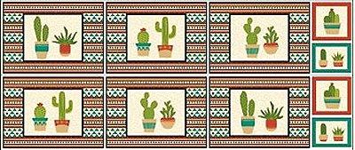 Tecido Tricoline Jogo Americano - Coleção Cactus - Fundo Bege - 60 cm X 150 cm
