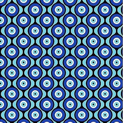 Tecido Tricoline Estampa Olho Grego - Fundo Azul - Preço de 50 cm x 150 cm