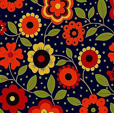 Tecido Tricoline  Estampa Floral c/ Poá (Fundo Marinho) - Coleção Alegria - 50 cm X 150 cm