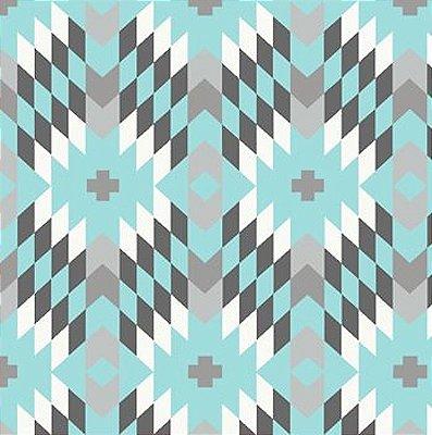 Tecido Tricoline Geométrico - Fundo Azul Claro - Coleção Flores do Deserto - 50 cm X 150 cm