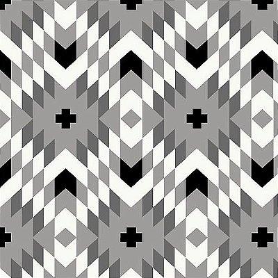 Tecido Tricoline Geométrico - Fundo Cinza - Coleção Flores do Deserto - 50 cm X 150 cm