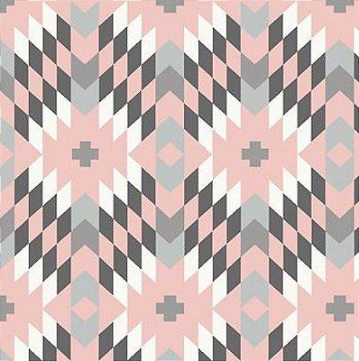 Tecido Tricoline Geométrico - Fundo Rosa - Coleção Flores do Deserto - 45 cm X 150 cm