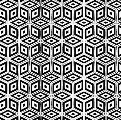 Tecido Tricoline - Coleção Geométrico (Fundo Preto e Branco) - Preço de 50cm x 150cm