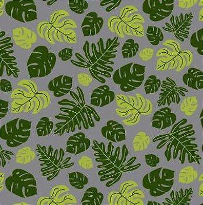 Tecido Tricoline com Estampa  de Folhagem - Coleção Tucano Tropical (Fundo Cinza) - Preço de 50cm x 150cm