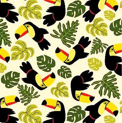 Tecido Tricoline Estampado de Tucano e Folhas - Fundo Creme - Coleção Tucano Tropical - 50 cm X 150 cm