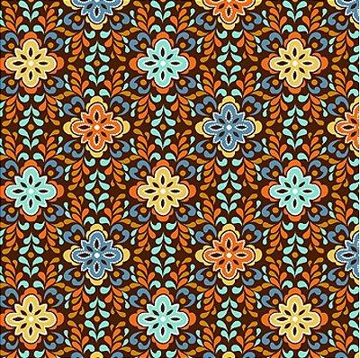 Tecido Tricoline Mini Mandala - Fundo Café - Coleção Novo México - Preço de 50 cm x 150 cm