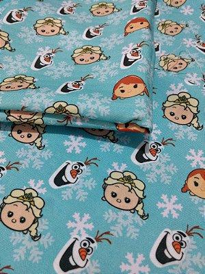 Tecido Estampa Exclusiva de Personagens - Frozen: Ana, Elsa e Olaf - 100% poliéster - Preço de 70cm x 60cm