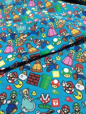 Tecido Estampa Exclusiva de Personagens - Mario Bros e sua Turma - 100% poliéster - Preço de 80cm x 60cm