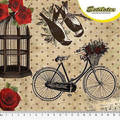 Tecido Digital Floral Red Roses Vintage - Fundo Cru - Preço de 50 cm x 140 cm
