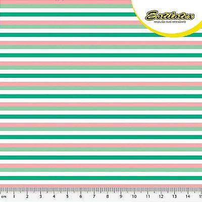 Tecido Tricoline Estampa Listra 4 Cores - Preço de 50 cm x 140 cm