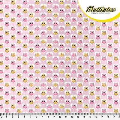 Tecido Tricoline Estampa Coruja - Fundo Rosa - Preço de 50 cm x 140 cm