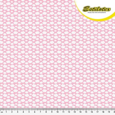 Tecido Tricoline Estampa Nuvem - Fundo Rosa - Preço de 50 cm x 150 cm