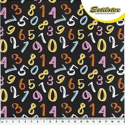 Tecido Tricoline Estampa Números Coloridos - Fundo Preto - Coleção Eduk - Preço de 50 cm x 150 cm
