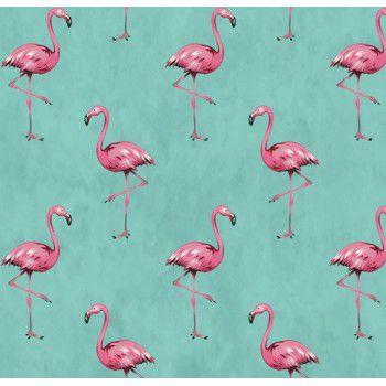 Tecido Tricoline com Estampa de Flamingo (Fundo Tiffany) - Coleção Sweet Dreams - Preço de 50 cm X 150 cm