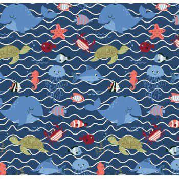 Tecido Tricoline com Estampa de Fundo do Mar - Fundo Azul Marinho - Preço de 50 cm X 150 cm