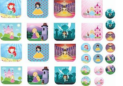 Tecido Estampa - Necessaire e Chaveiros Princesas 1 - 100% poliéster - Preço de 70cm x 50cm
