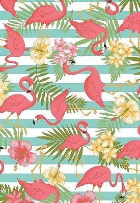Tecido Tricoline Estampa de Flamingos e Folhagens - Fundo Azul e Branco Listrado - Preço de 50 cm X 146 cm