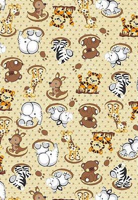 Tecido Tricoline Estampa Animais Bebês: Girafa,Tigre, Elefante, Zebra, Urso, Rinoceronte e Canguru - Fundo Creme - Preço de 50 cm X 146 cm